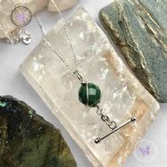 Faceted Bloodstone Silver Bar Pendant Necklace
